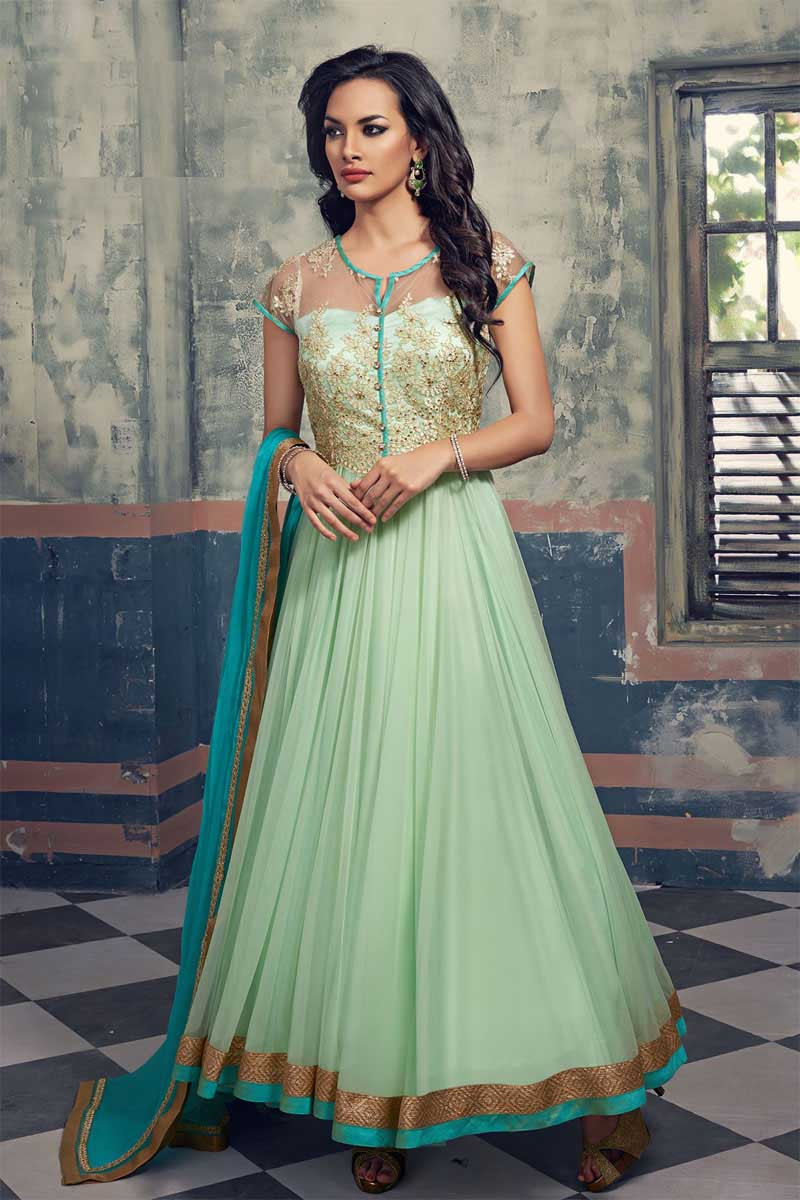 Green Georgette Anarkali Salwar Kameez With Dupatta