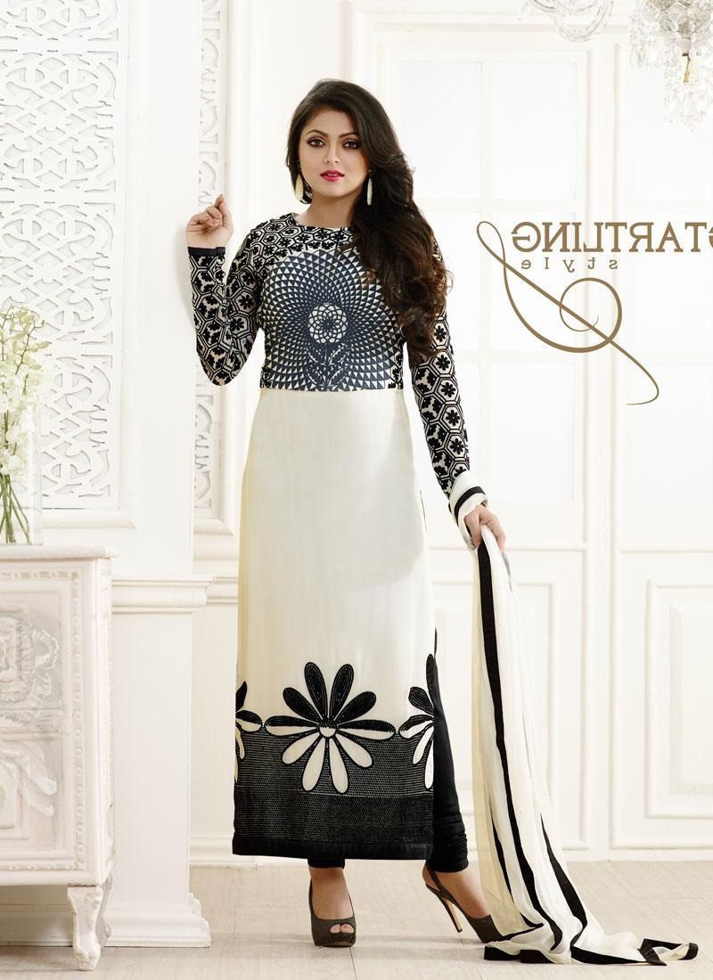 White And Black Georgette Dress Material
