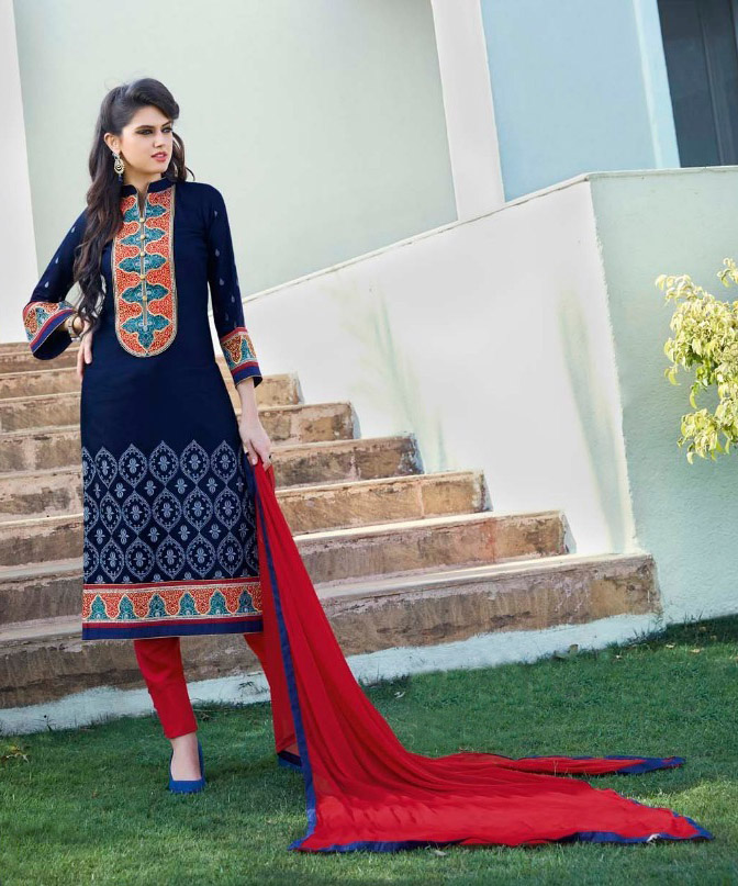 Stylist Designer Blue And Red Cottan Salwar Suit