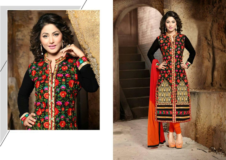 Designer Semi Stitched Orange georgrtte  Chudidar Salwar Suit