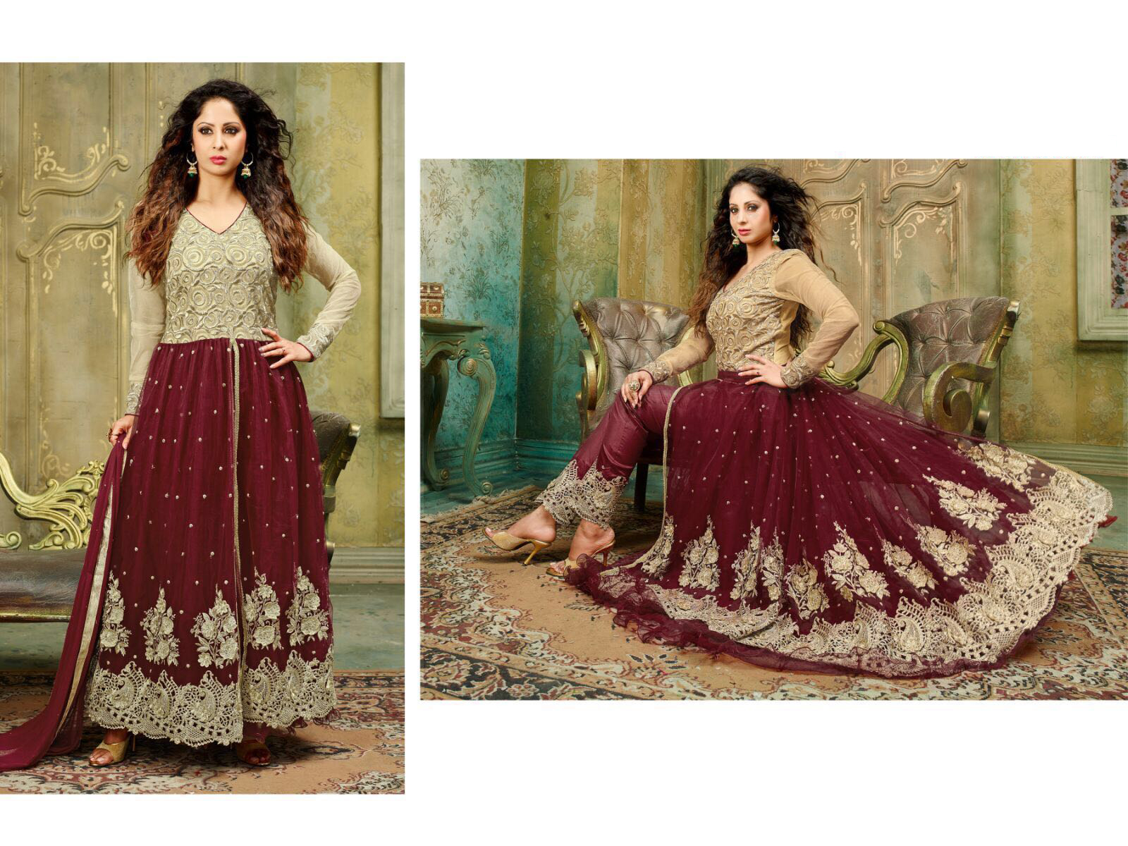 Red And cream colour Net  Anarkali Salwar Kameez With Dupatta