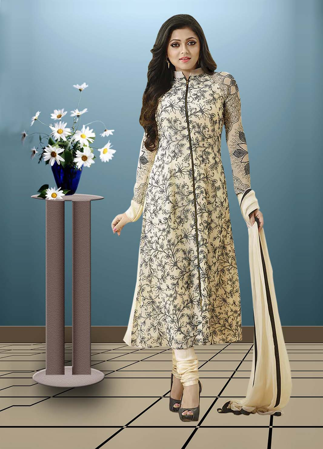 �Latest Heavy Embroidered Cream Color Salwar Suit