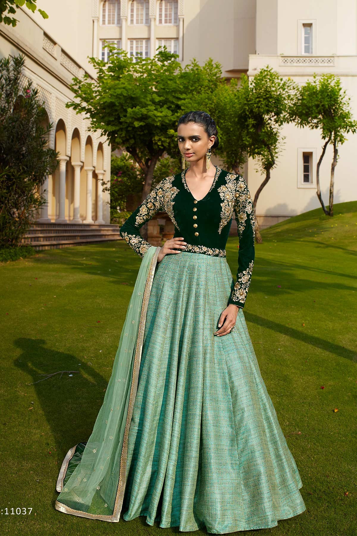 Designer  green and aqua Velvet With Silk Embroidered Anarkali Suit�