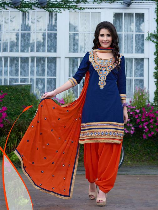 Exclusive Blue Emboridered Designer Patiala Salwar Suit