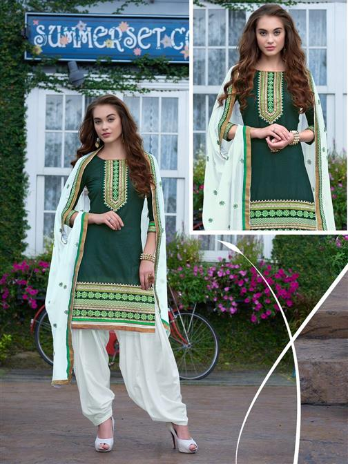 Exclusive Green Emboridered Designer Patiala Salwar Suit