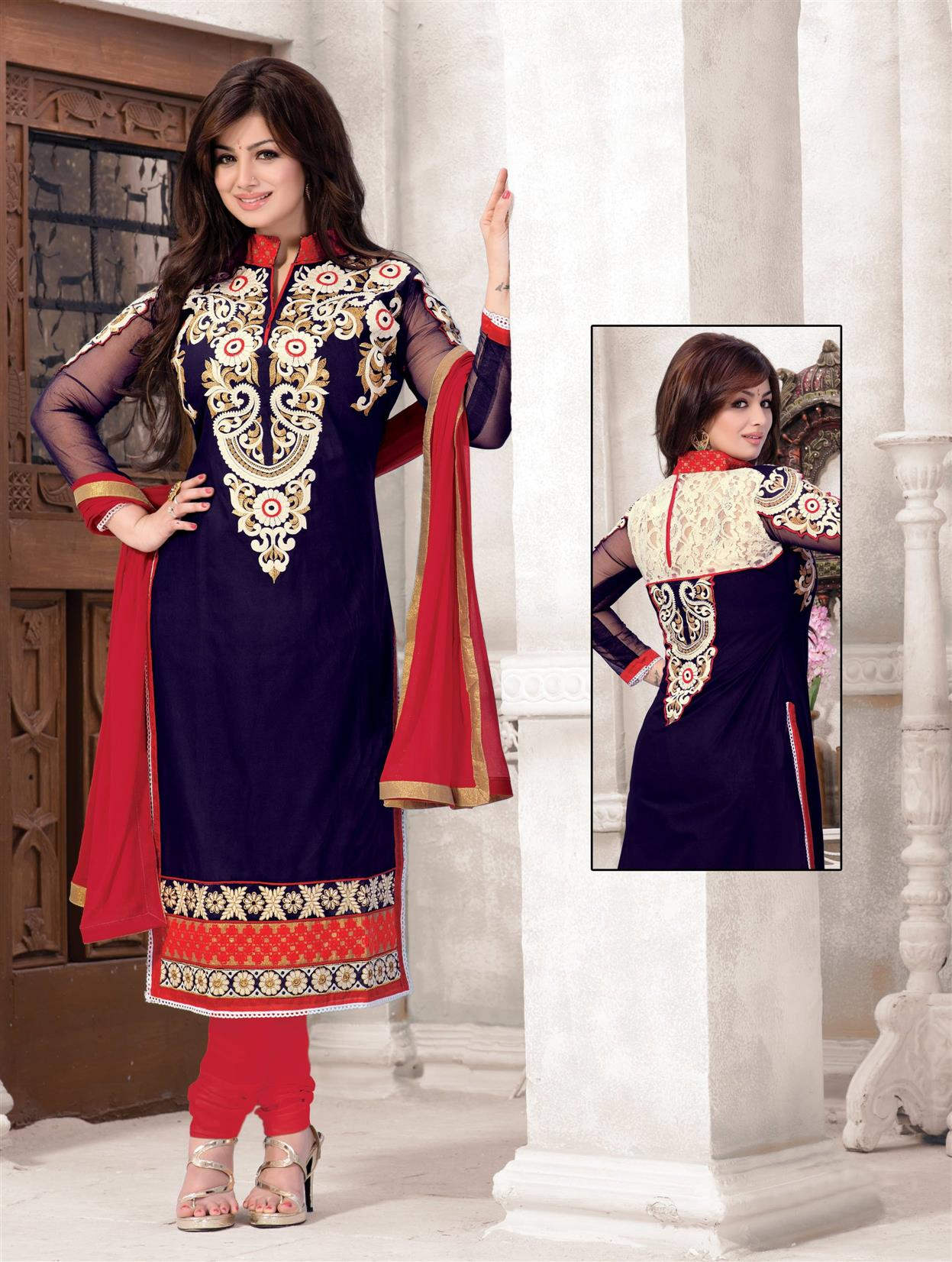 Amazing Designer Blue Heavy Embroidery Neck Salwar Kameez
