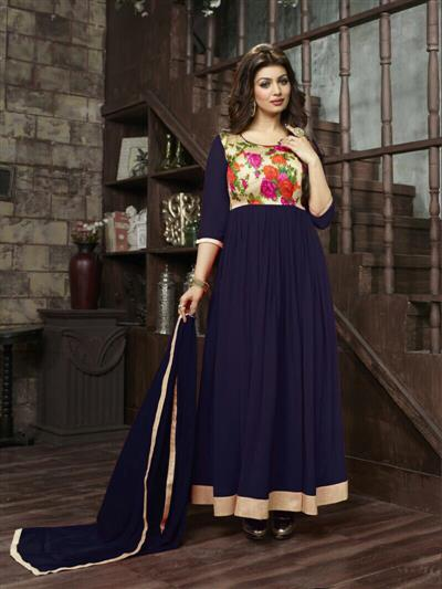 Latest Exclusive Dark Blue Color Anarkali Suit