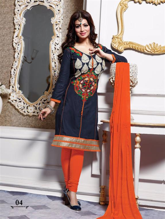 New Attractive Designer Cotton Blue Salwar Suit