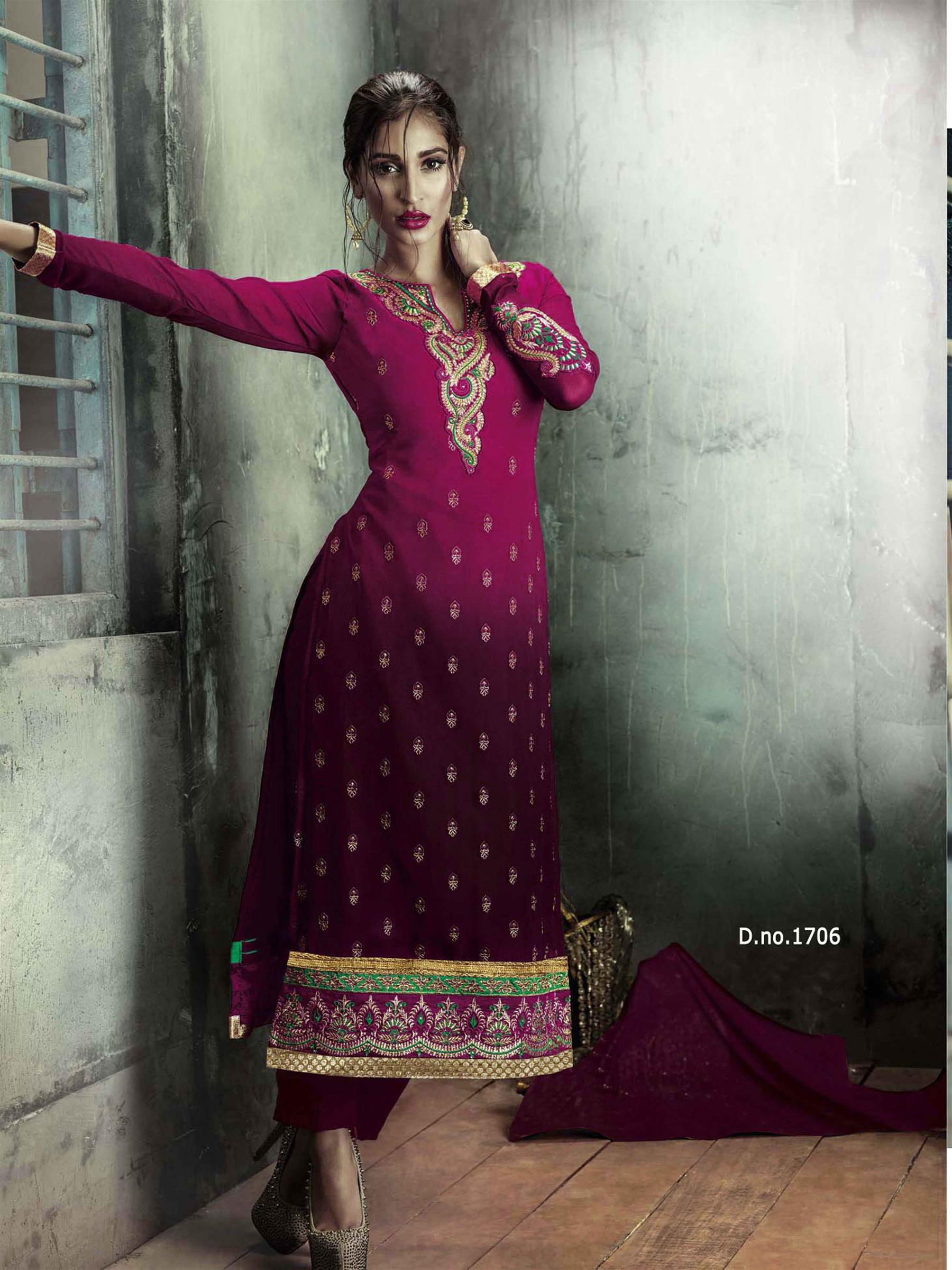 Beautiful Designer Georgette Maroon Semi Stitched Straight Suit