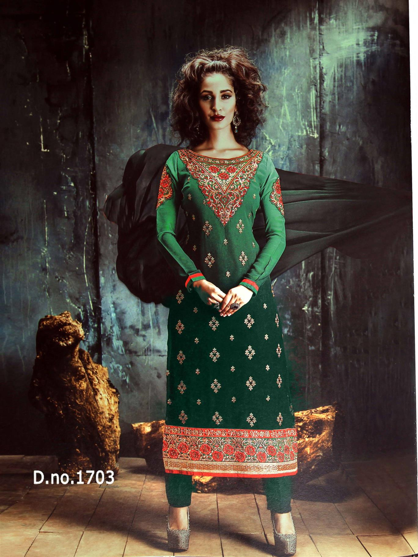 �Beautiful Designer Green Georgette Semi Stitched Straight Suit
