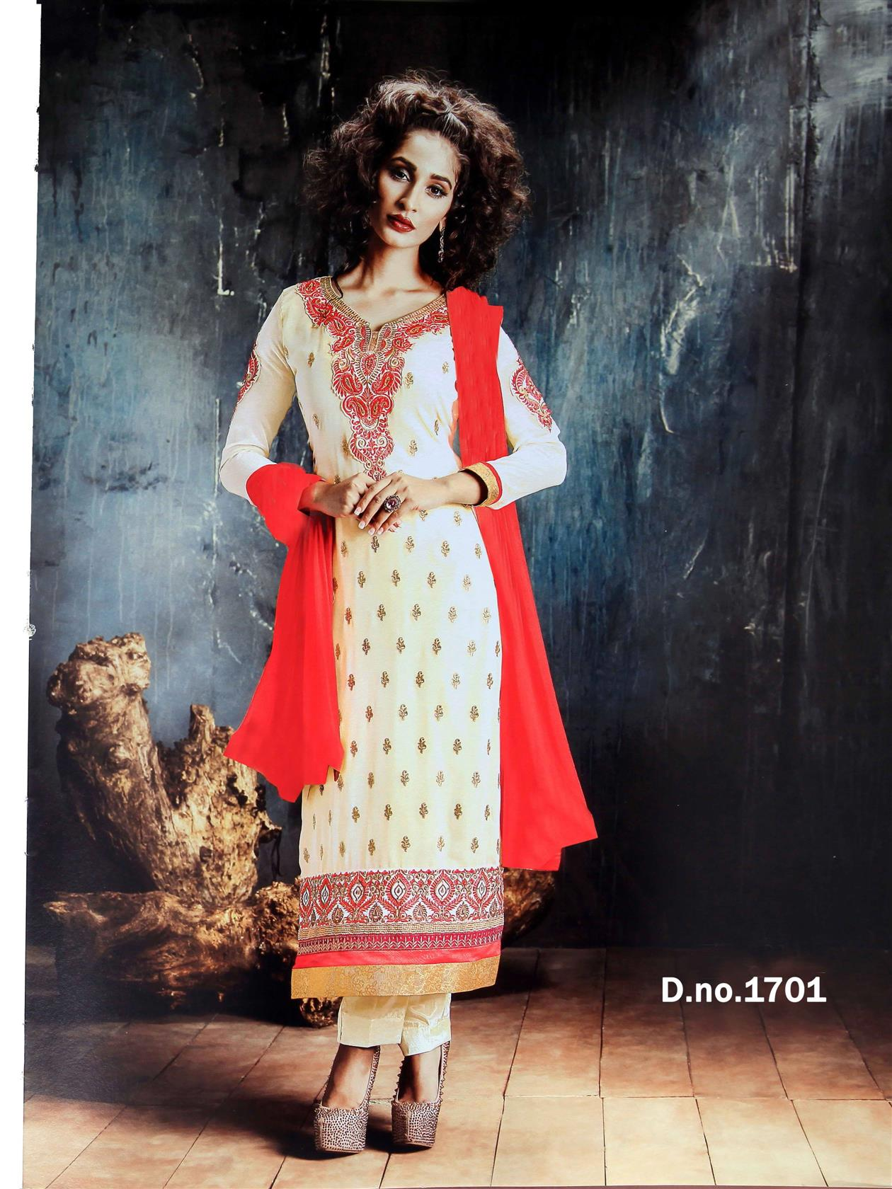 Beautiful Designer Georgette Cream Semi Stitched Straight Suit