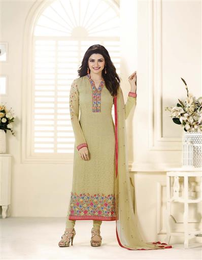 Beautiful Designer Georgette Beige Color Semi Stitched Straight Suit