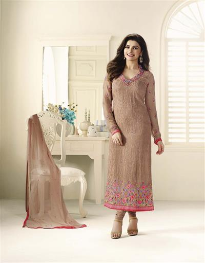 Beautiful Designer Georgette Brown Color Semi Stitched Straight Suit