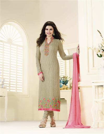 �Beautiful Designer Georgette Beige Color Semi Stitched Straight Suit