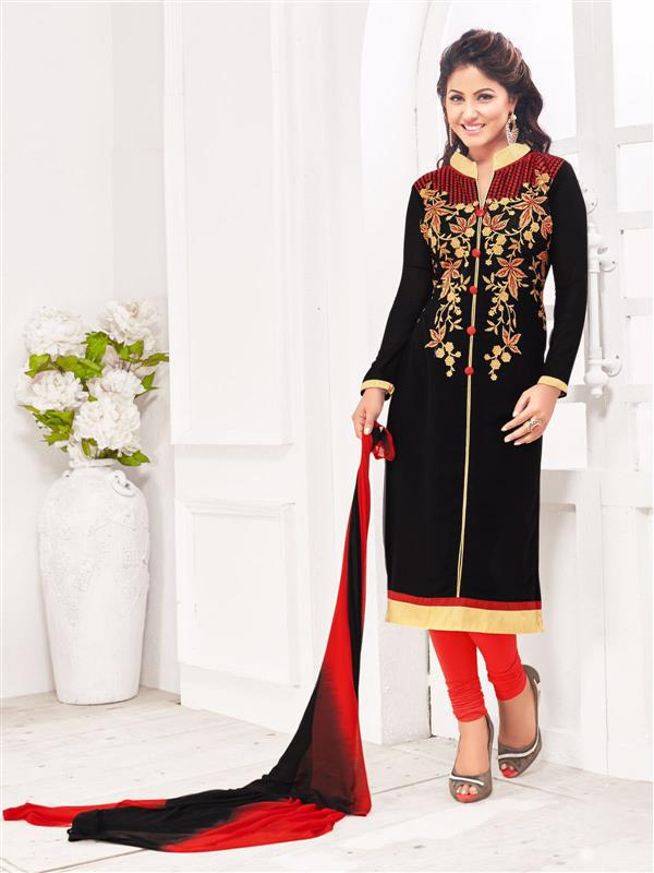 Beautiful Designer New Attractive Designer Georgette Black And Red Salwar Suit
