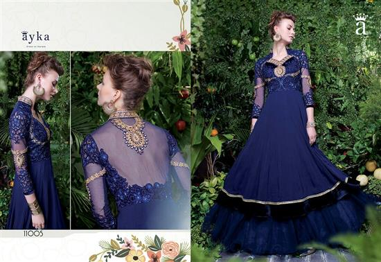 Navy Blue Colour Net And Georgette Embroidery Semi Stitched Designer Gown