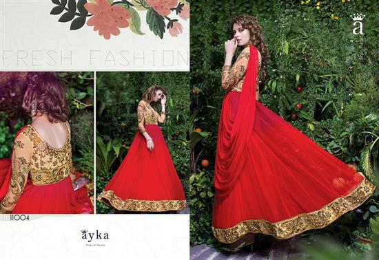 Red Color Net & Viscos Embroidery Semi Stitched Designer Gown