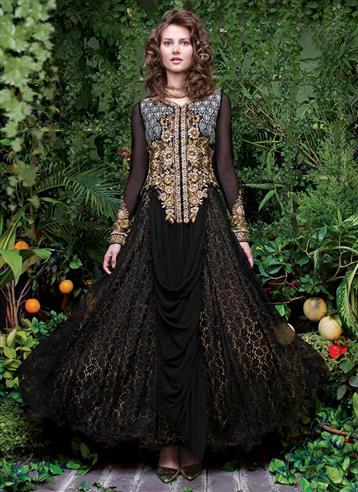�Black Colour Rasal Net Embroidery Semi Stitched Designer Gown