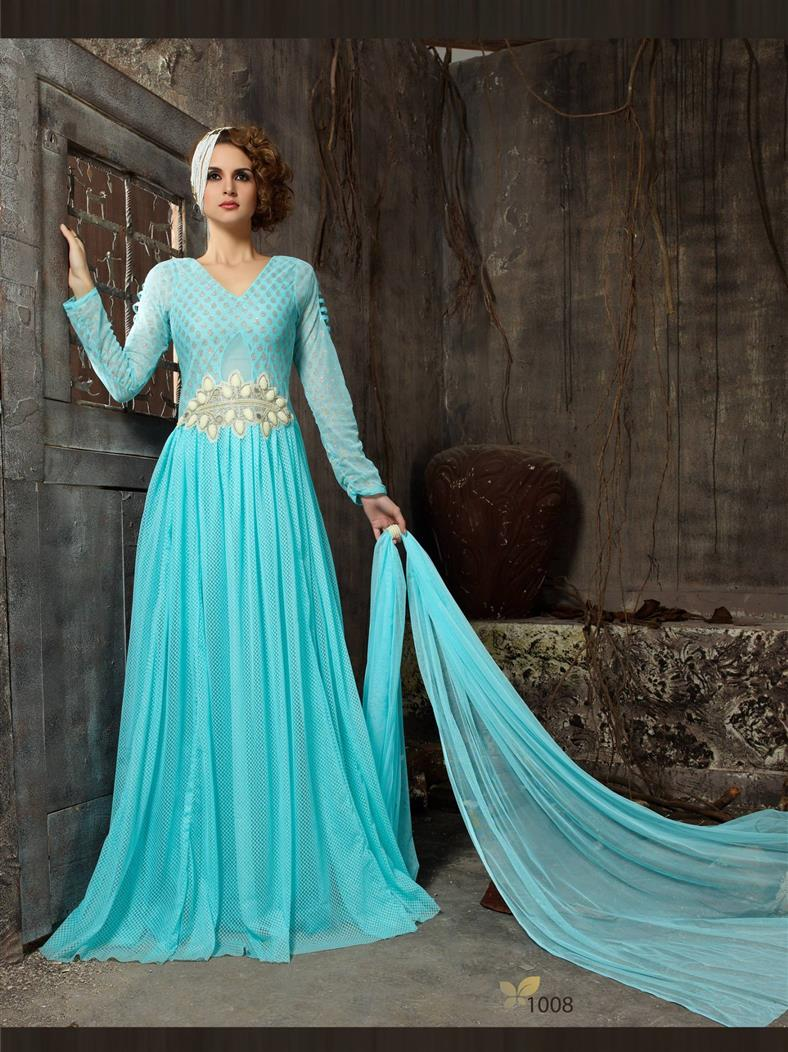 �New Stylist Look Designer Embroidred Sky Blue Gown