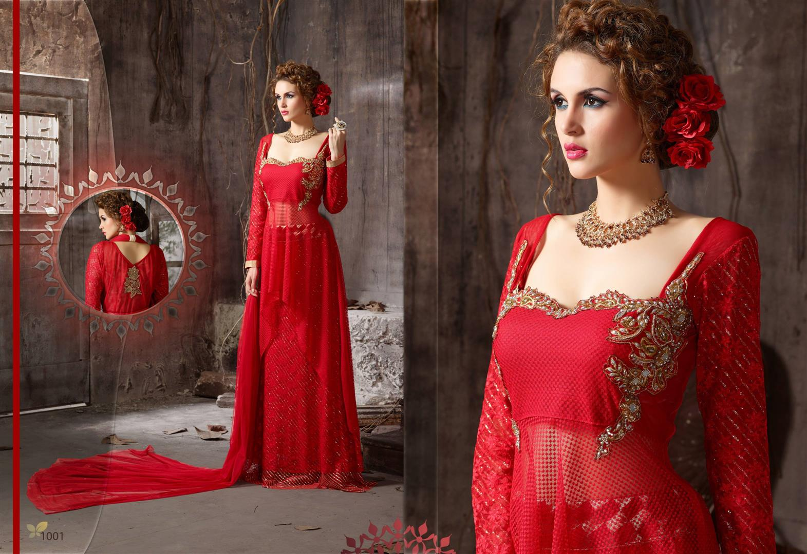 New Stylist Look Designer Embroidred Red Gown