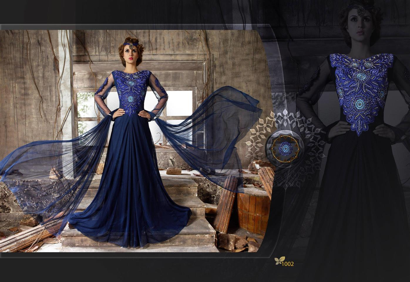 New Stylist Look Designer Embroidred Blue Gown