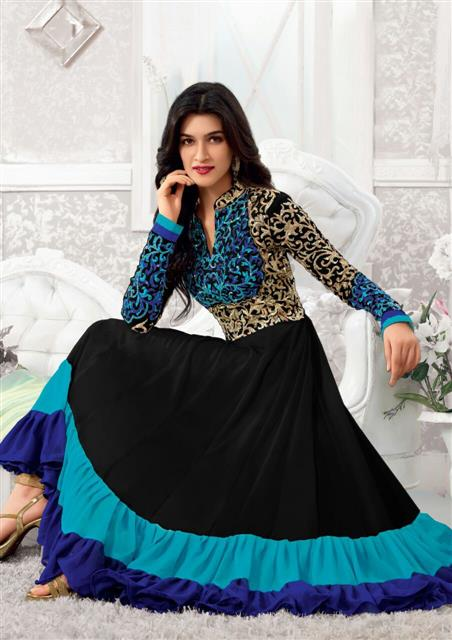 Kriti Senon Designer Black & Blue Anarkali Suit