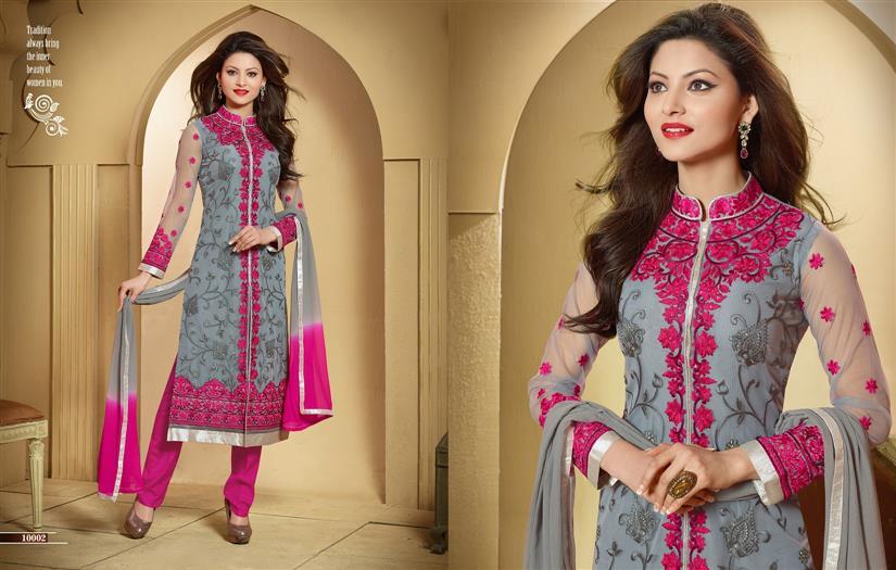 Designer Semi Stitched Grey & Pink Chudidar Salwar Suit