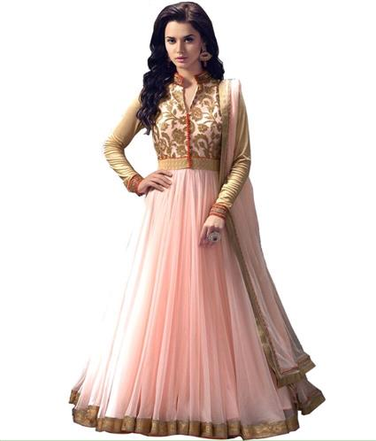 New light pink Net Dress With Stylist Neckline Top With Lace Dupatta.