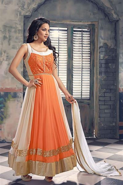 Orange And White Georgette Anarkali Salwar Kameez With Dupatta