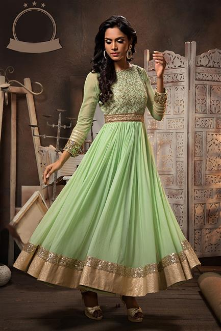 light Green Georgette Anarkali Salwar Kameez With Dupatta