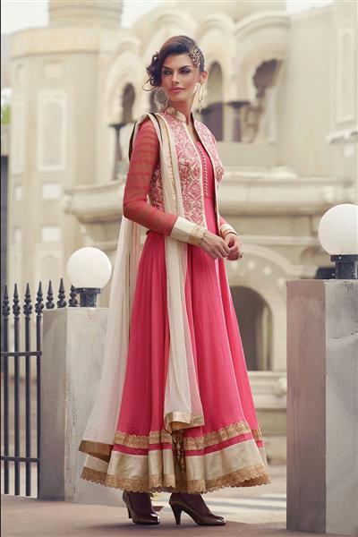 Pink Georgette Anarkali Salwar Kameez With Dupatta