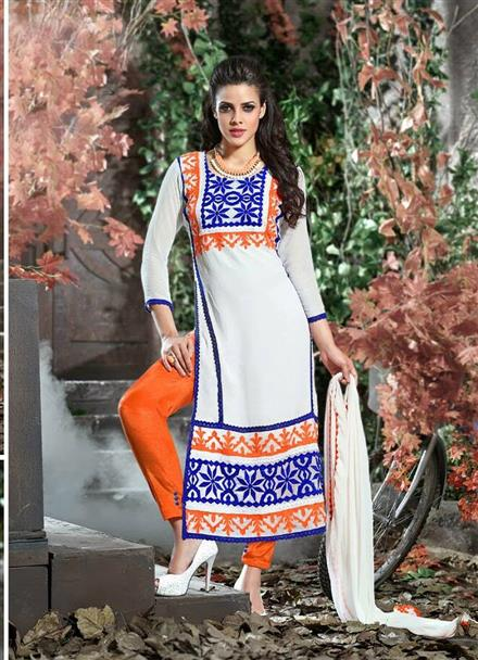 Marvelous Designer Off White Color Embroidered Pure Georgette Straight Cut Suit