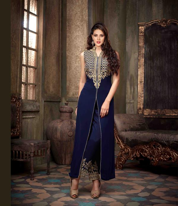 New Chain Blue Color Full Embroidered Semi-stitch Suit