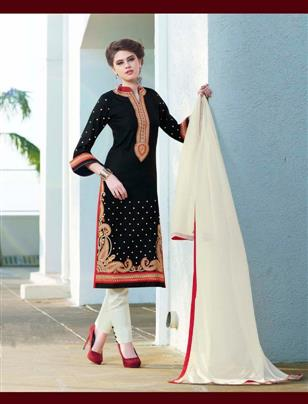 Stylist Designer Black And White Cottan Salwar Suit