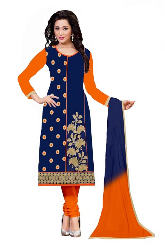 Beautiful Designer Blue Cotton Salwar Suit