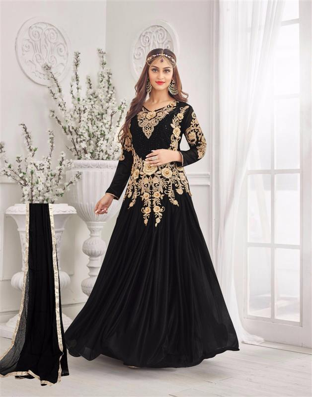 Black Color Lycra Embroidery Semi Stitched Designer Gown