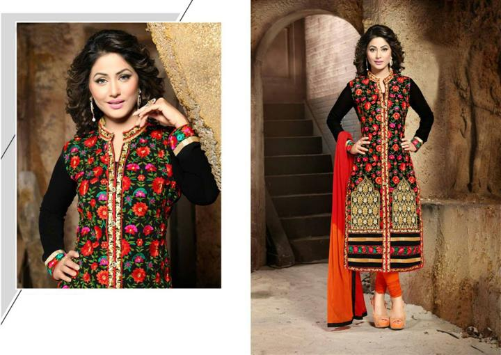 Designer Semi Stitched Orange georgrtte  Chudidar Salwar Suit