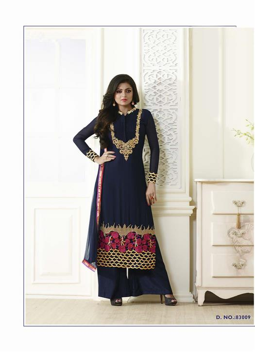 New Attractive Plazo Style Navy Blue Embroidered Salwar Suit