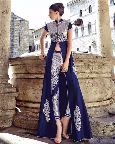 Beautiful Blue Heavy Neck Embroidered Anarkali Suit