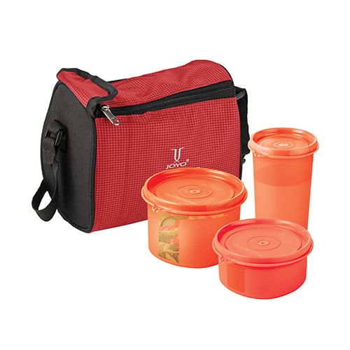 Joyo Fresherware Airtight Bento Set - Red, 4 pcs