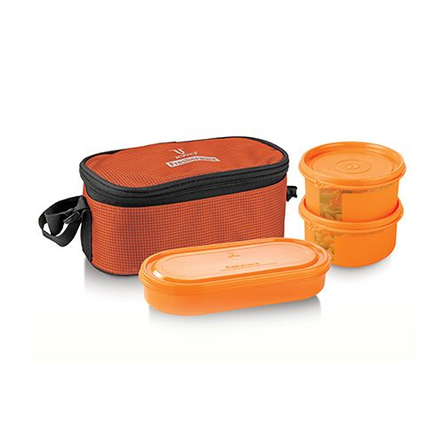 Joyo Fresherware Airtight Happy Lunch Set - Orange, 3 pcs