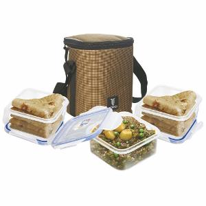 Joyo 4 Side Lock President Lunch Box Set with Bag  Brown, 3 pcs