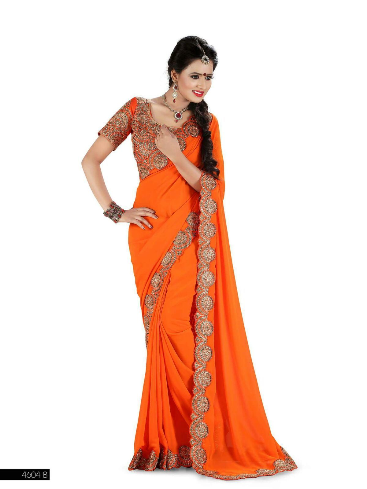 Orange cut work saree