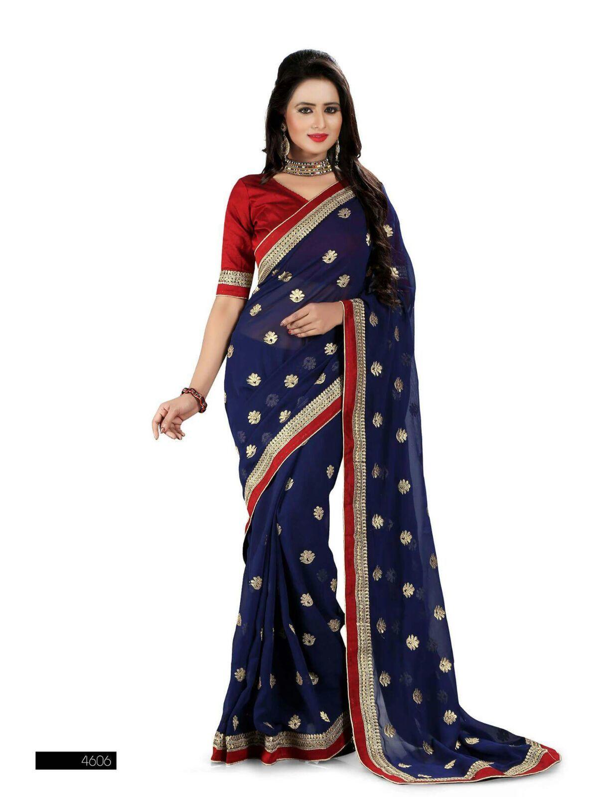 Blue & Marron designer saree