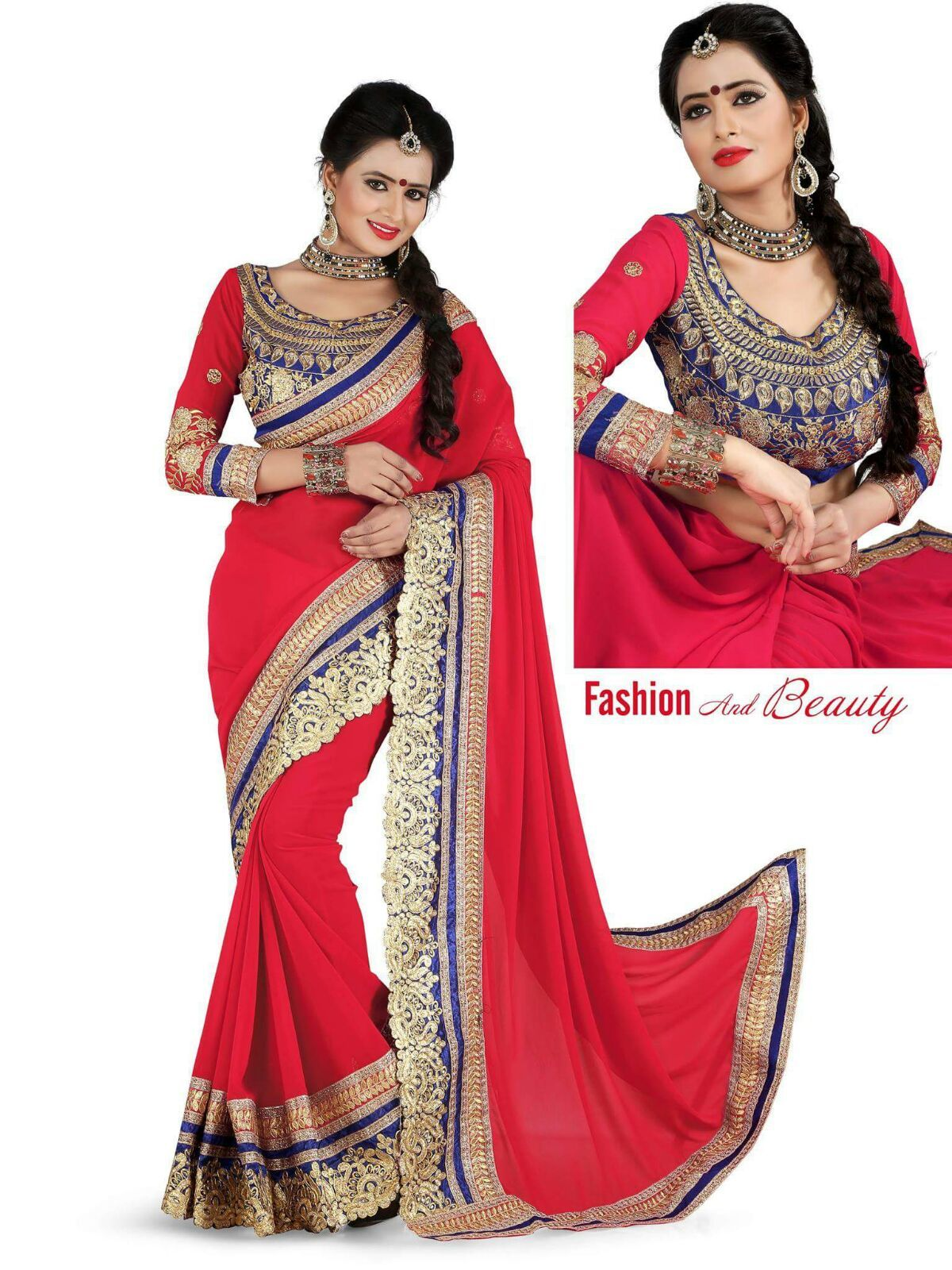 Royal Red Cut work saree