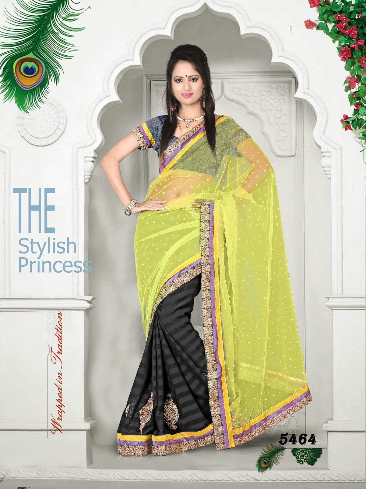 Light Yellow & Black  party wear saree