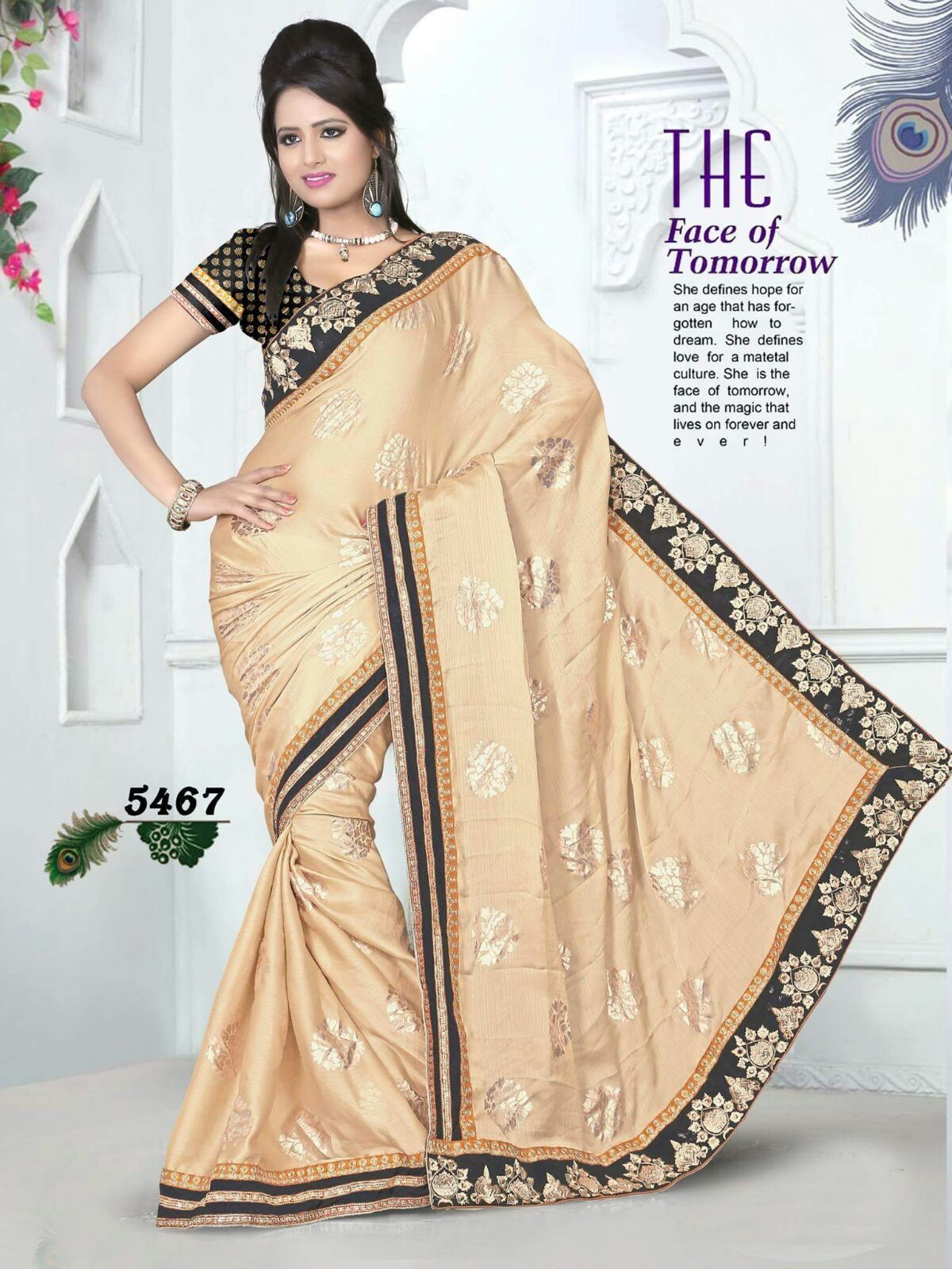 Cream & Black Silk Saree