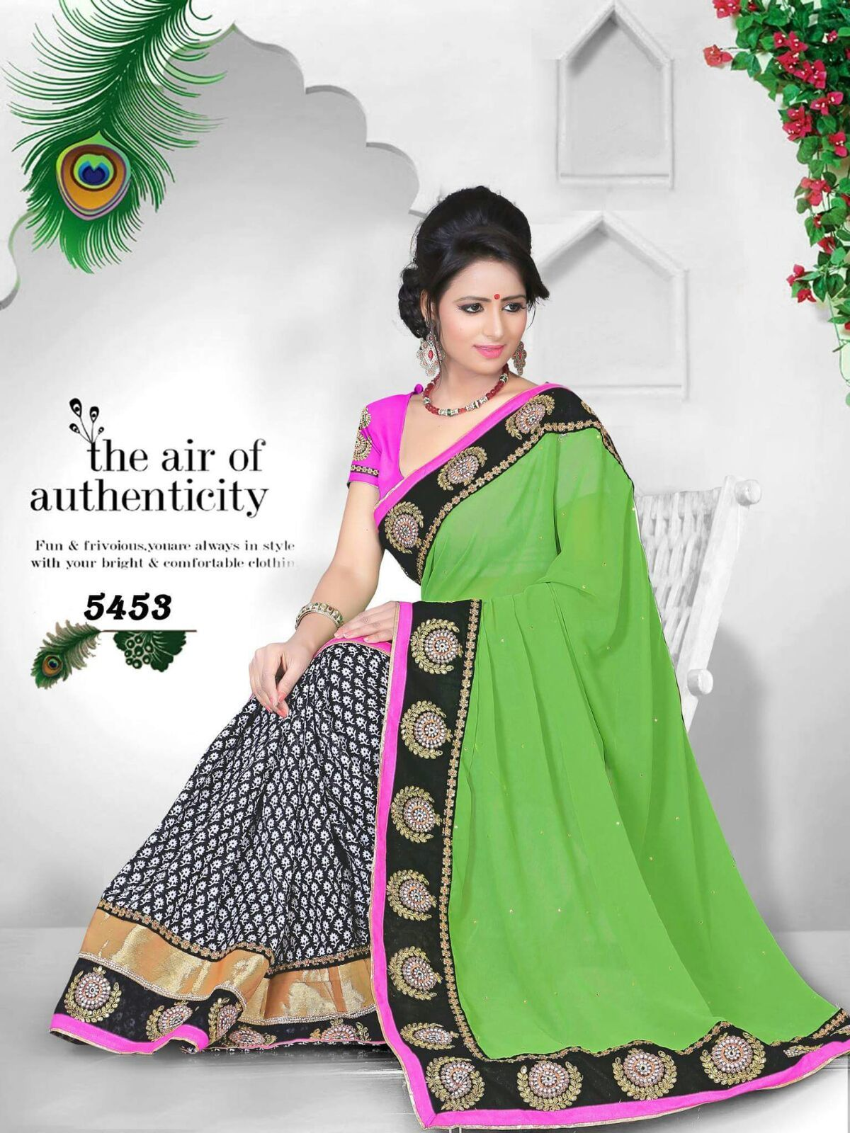 Attractive Green & Black Saree