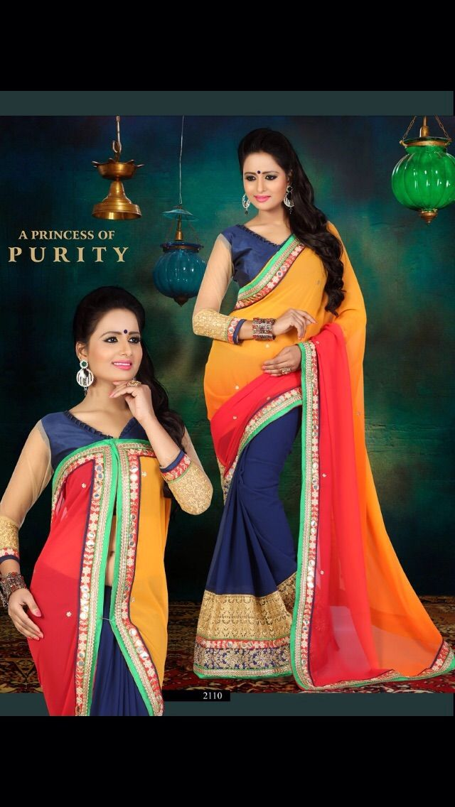 Attractive Blue & Orange Saree