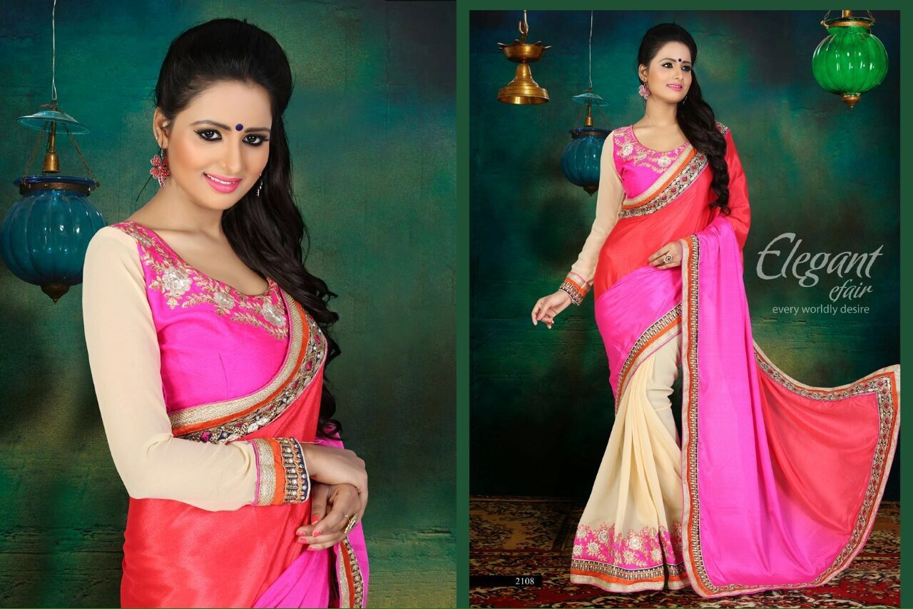 Designer Pink & Cream saree
